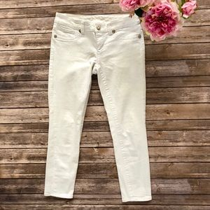 SEVEN7 skinny jeans white denim crystal buttons 6
